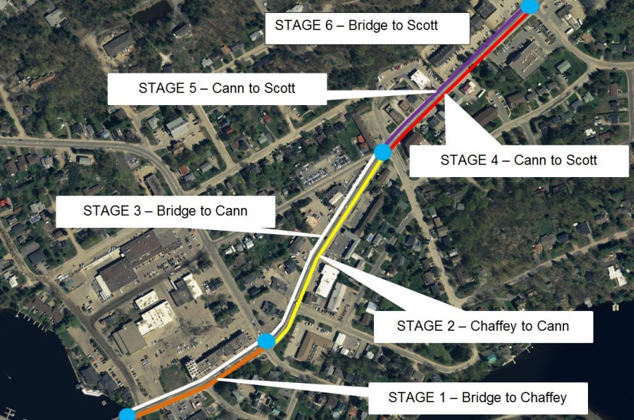 Planned stages for construction on King William Street in 2019 and 2020. (Image: District of Muskoka)