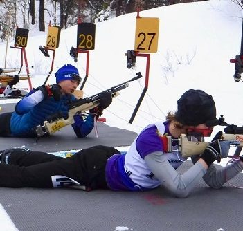Phoenix Varieur shooting at a biathlon event in Valcartier, Quebec in January 2019 where he place second (Photo courtesy of Mike Varieur)