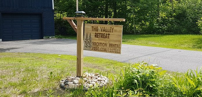 There are an estimated 1,000 private short-term vacation rentals in the Huntsville area. Some, like this one in Hidden Valley, are clearly marked.