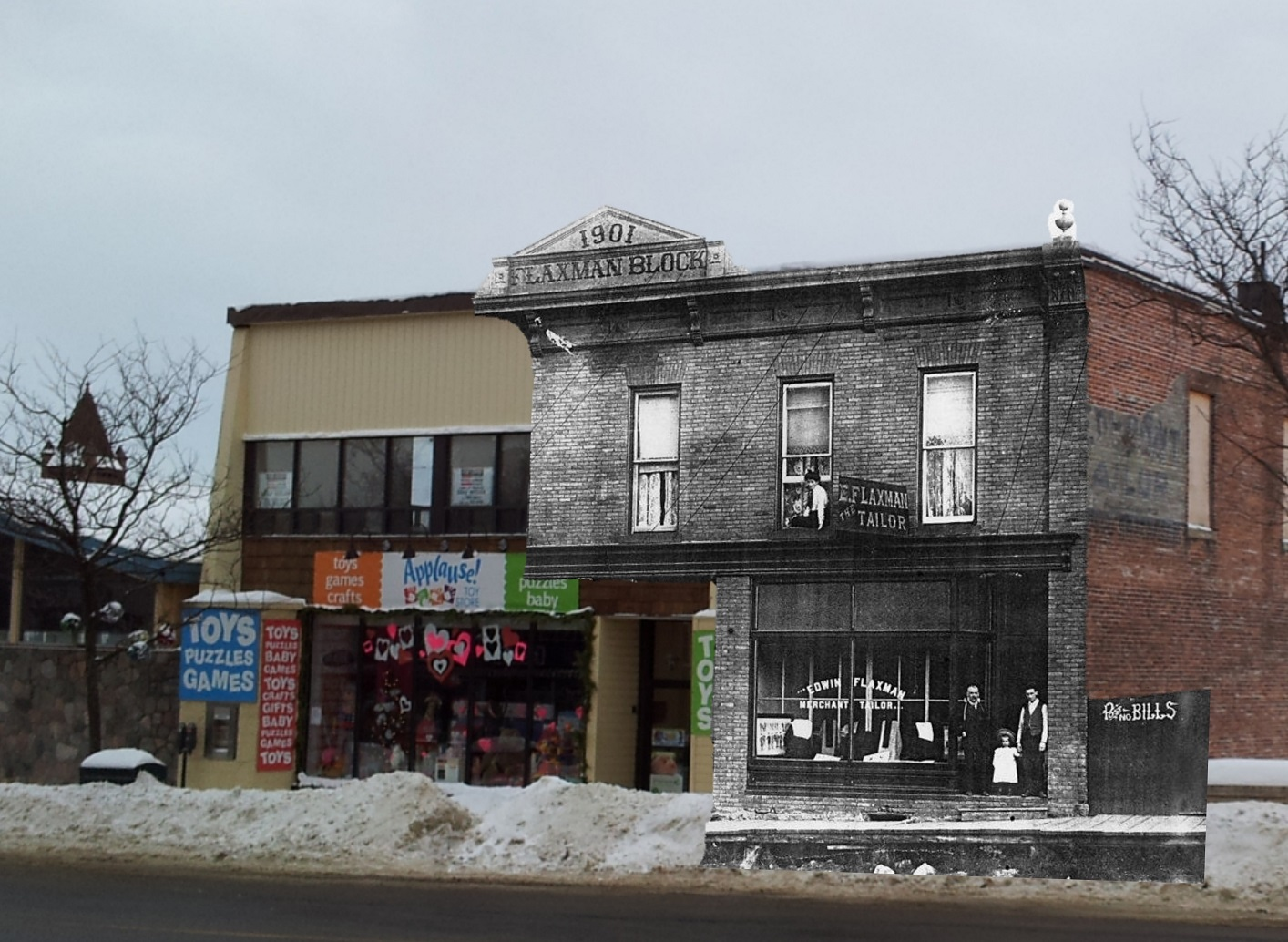 A vintage photo of the Flaxman Block superimposed on the building in that location now. The building now houses Marigold restaurant and The Record Shoppe. (Courtesy of Kelly McCaw)