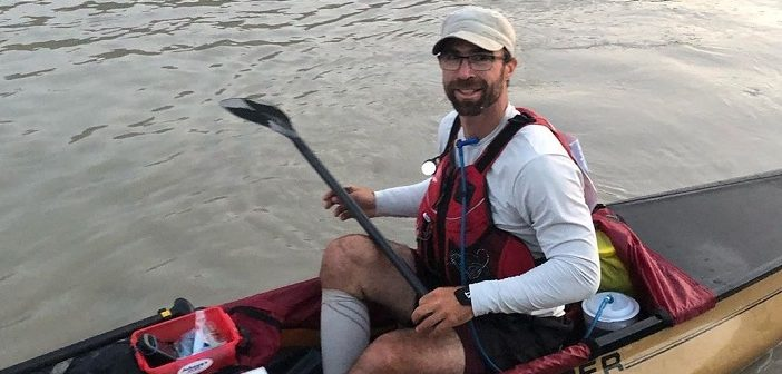 Chris Near finishes the 715km Yukon River Quest with a smile (Rebecca Francis)