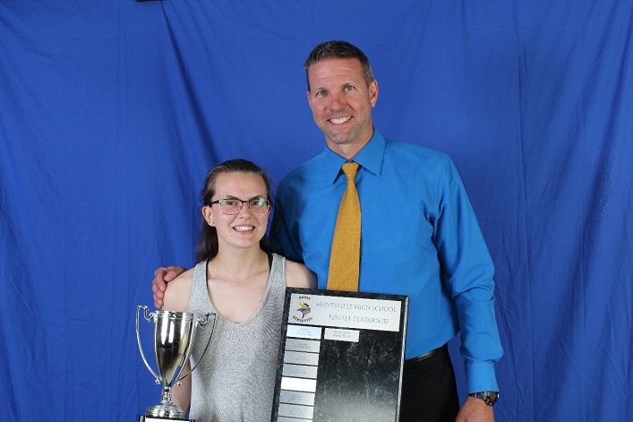 Athletic Leadership Award recipient Madi Buck with HHS Athletic Director Ross Clarke
