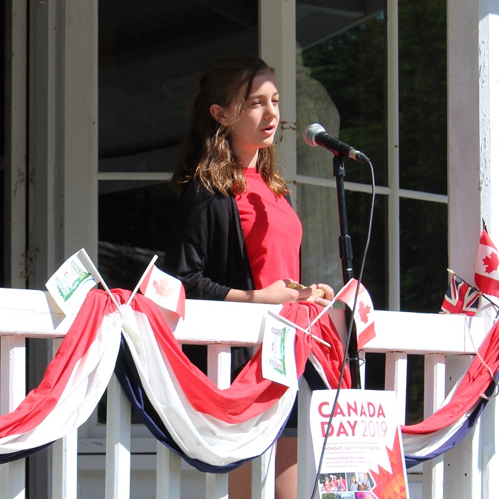 """Keira Marshall gives an encore performance of her speech """"Why I Love Huntsville"""", which won the inaugural Mayor's Public Speaking Contest this spring"""