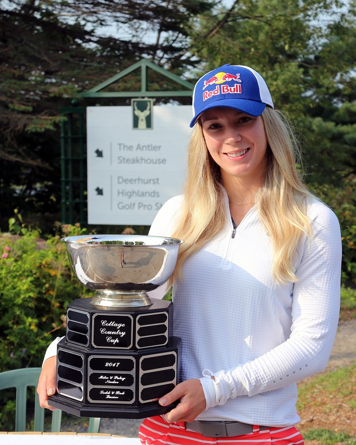 Dara Howell with the Cottage Country Cup. The tournament supports Dara's Fund, which provides financial assistance to female athletes in Muskoka (supplied)