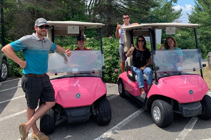 Deerhurst Resort's pink golf carts support the tournament throughout the season through premium cart rental fees (Deerhurst Resort / Facebook)