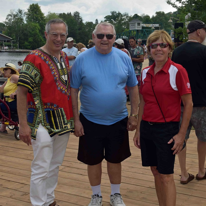 (From left) MP Tony Clement, Bill Sibeon, a local Rotarian who sang O Canada, and Deputy Mayor Karin Terziano were there to welcome the crowd