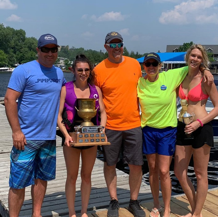 Rotary Dockfest 2019 bathtub derby winner On the Docks Pub (second from left) and media race winner Moose FM 105.5 (right) with best in parade winner Core Health (second from left) and representatives from Pipefusion and the Rotary Club of Huntsville (Photo courtesy of Rotary Dockfest)