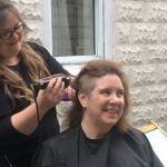 Laura Veenstra gets her head shaved in support of the Canadian Cancer Society (supplied)