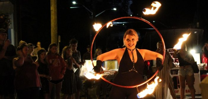 The ladies of North Fire Circus put on a spectacular show for the Midnight Madness crowd