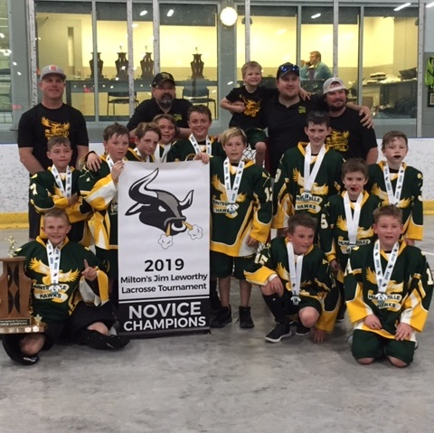 The Novice 1 Hawks also won this tournament in Milton (back row from left) coaches Ryan Woollings, Craig Frasier, Calvin Shirtliff, Frank Horvat, and Kory Shirtliff; (standing in middle row, from left) Landon Worrell, Carson Frasier, Taylor Carnduff, Nick Lagendyk, Logan Sheppard, Dylan Bennett, Tyson Olive, Wyatt Davidson, William Byers; (front row from left) Braeden Woollings, Avery Shirtliff, and Ryder Mackinnon. Missing from photo: Jake Earl