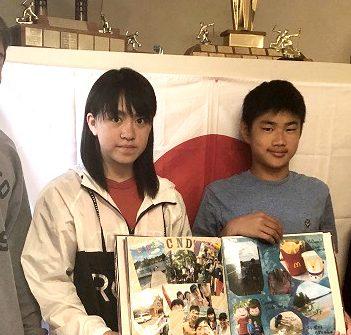 (From left) HHS student and teaching assistant Cal Truax with Japanese students Nozomi Tanaka, Kouga Hadori and Hina Sashima