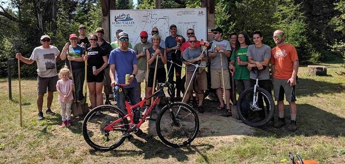 HMBA volunteers helped make the trails at Echo Valley more mountain bike-friendly (Photo courtesy of the HMBA)