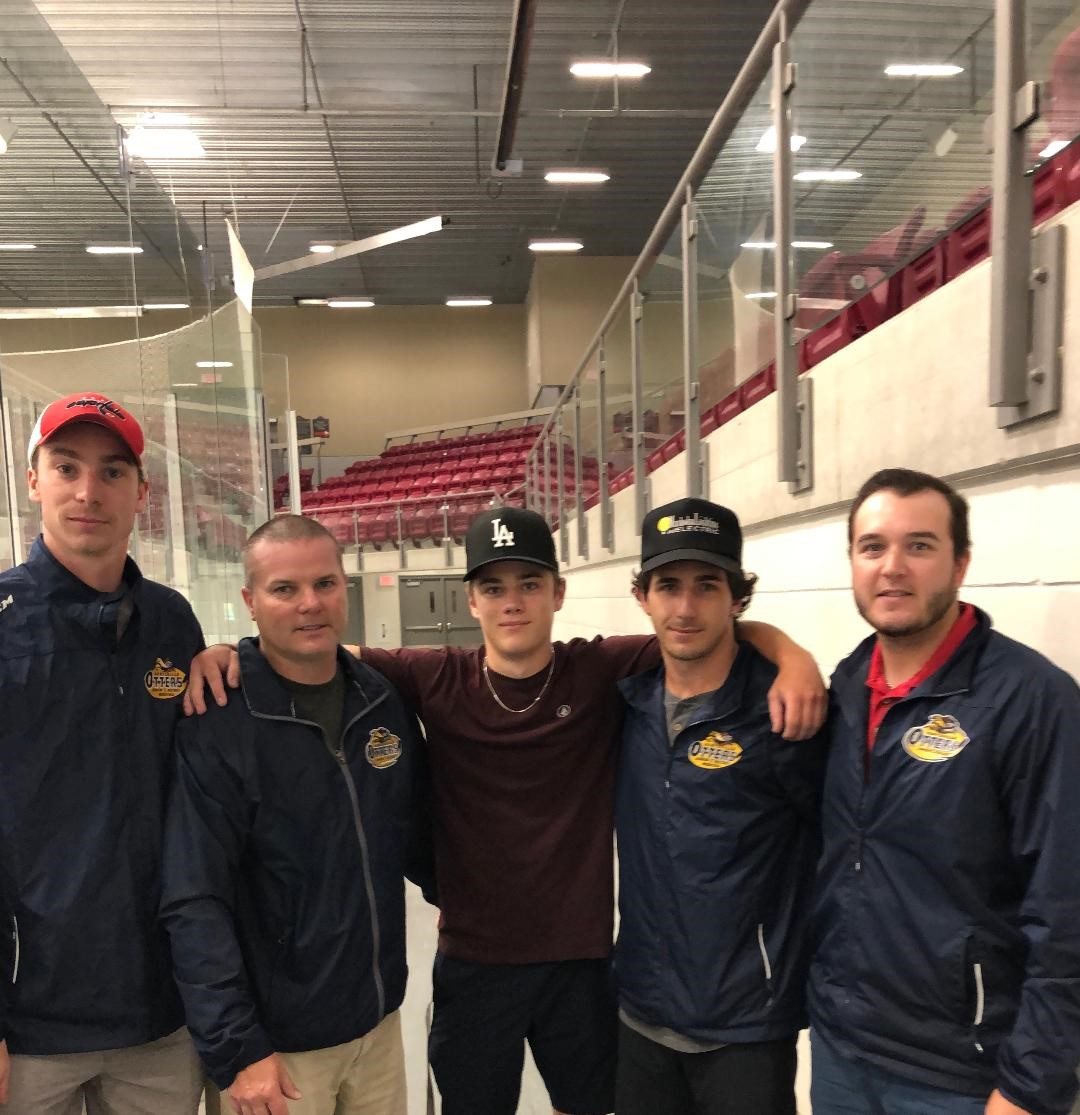 Jr C Otters signed local player Chris Locke this season (centre with, from left) assistant coach Cole Gilligan, coach Marc Gagnon, assistant coach Tyler Gervais-Rolfe and GM Britten Coffin