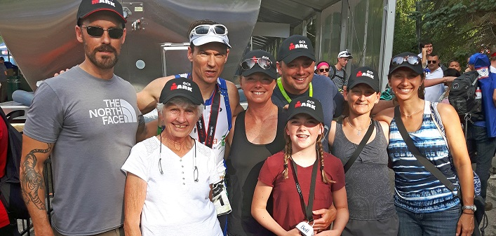 Mark Sinnige (third from left) with family and friends at the Mont-Tremblant Ironman