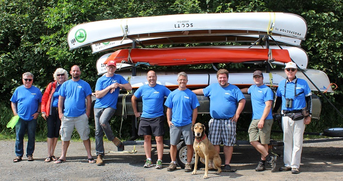 Some of the many Paddle for Fairvern volunteers (from left) Rob Wilkinson, Jane Hunt, Sean Smith, Scott Parsons, Paul Stevens, Jeff Taylor, Salo the dog, Josh Moore, Robert Edmonstone, and photographer Ken Morrison