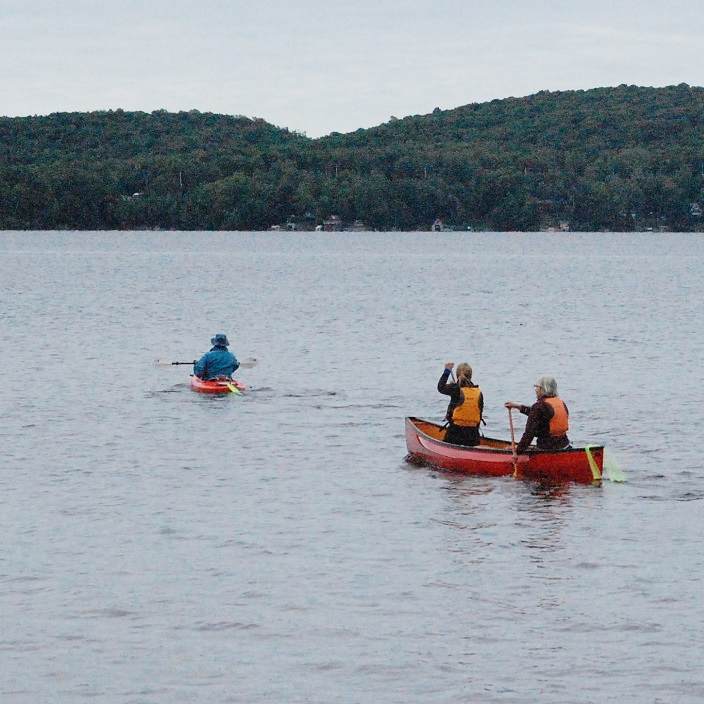 These paddlers were among the first to push off. Destination: Hidden Valley Beach.