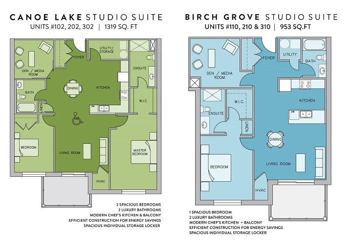 Canoe Lake (above left) and Birch Grove are two of the 11 studio suite floor plans available in The Tom at Campus Trails