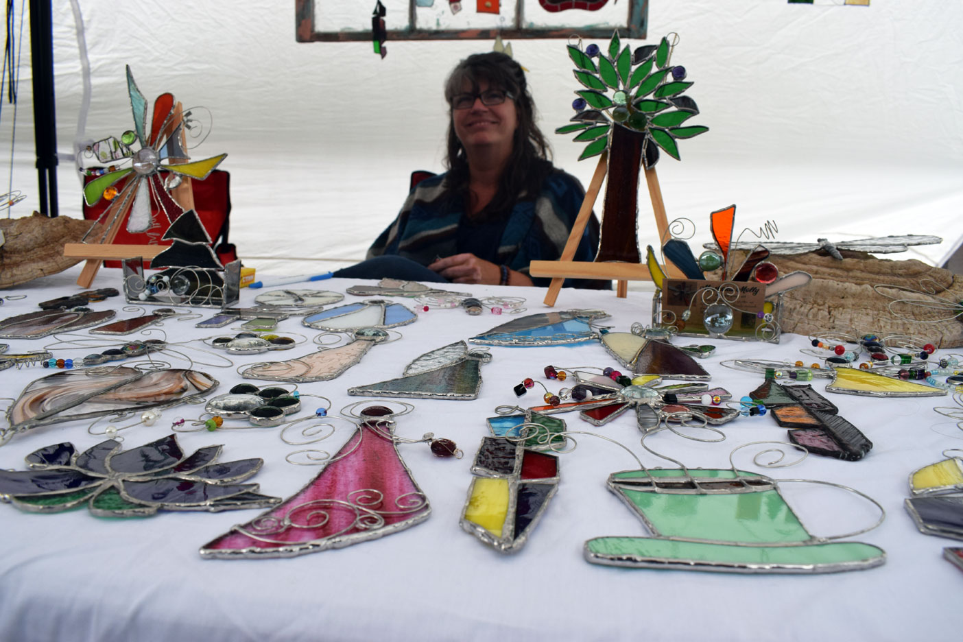 Sheri puts a lot of heart and soul into her stained-glass pieces, which were truly eye-catching.