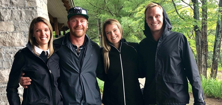 Golf and Dine participants (from left) Jessica Kaye, Matt Kaye, Charlie Vanderpol and Steve McNair