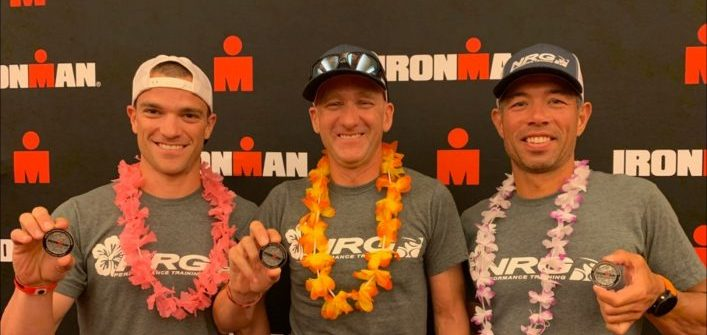 Jon Morton (left) has qualified for the 2020 World Ironman Championships thanks to his age-category win in Wisconsin (supplied)