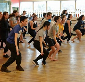 Members of the Newsies cast in rehearsal (supplied)