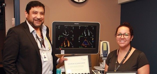 Internist Dr. Khal Salem and Echosonographer Angie Morris display the certification from the CorHealth Ontario Echocardiography Quality Improvement Program (supplied)