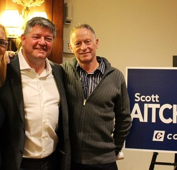 Parry Sound-Muskoka MP-elect Scott Aitchison (centre) with his campaign managers Kirsten Baker (left) and Myke Malone