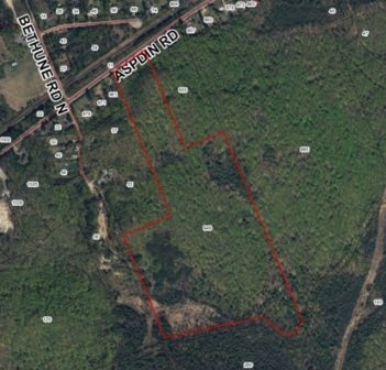 Proposed tree farm property at 949 Aspdin Road, marked in red.
