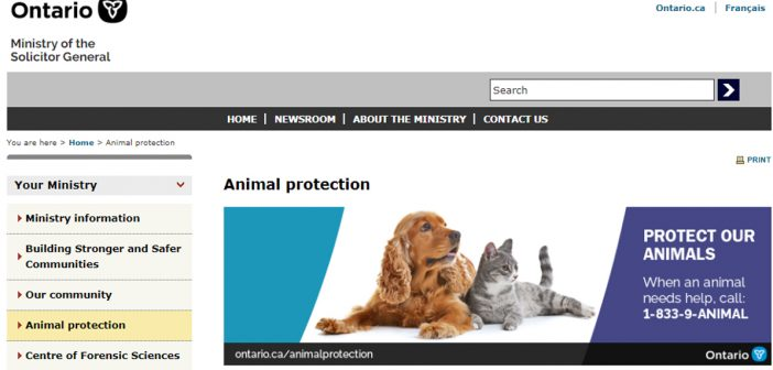 Province has taken over enforcement of animal welfare laws from OSPCA