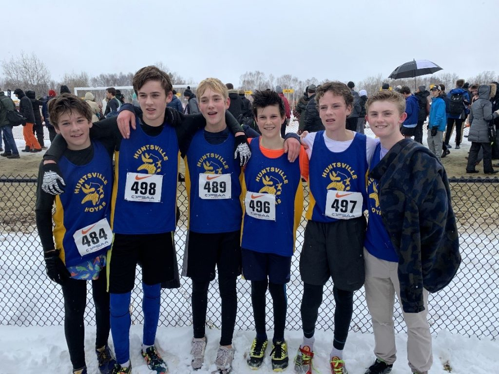 HHS novice boys cross-country team at OFSAA 2019 (from left) Sol Coles, Aiden Spiers, Matt Kuusk, Sam Richter, Ben Shearing, and Jackson MacDonald (supplied)