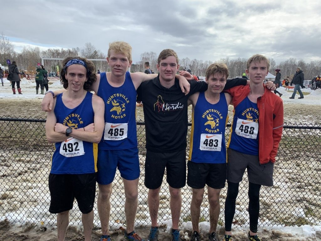 HHS senior boys cross-country team at OFSAA 2019 (from left) Aidan McClung, Riley DeGans, Cam Heinz, Eli Coles, and Seb Horton (supplied)