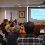 Kris Hadley of Hutchinson Environmental Ltd. speaks to those gathered at the Huntsville council chambers on Nov. 8, 2019, about the pilot study (Tamara de la Vega)