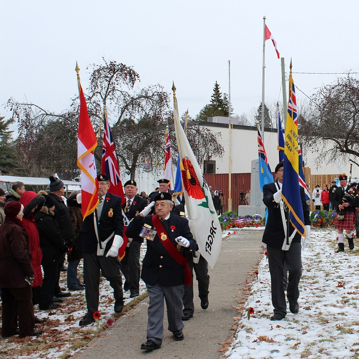 The Royal Canadian Legion branch 232 colour guard files out to conclude the outdoor service (Dawn Huddlestone)