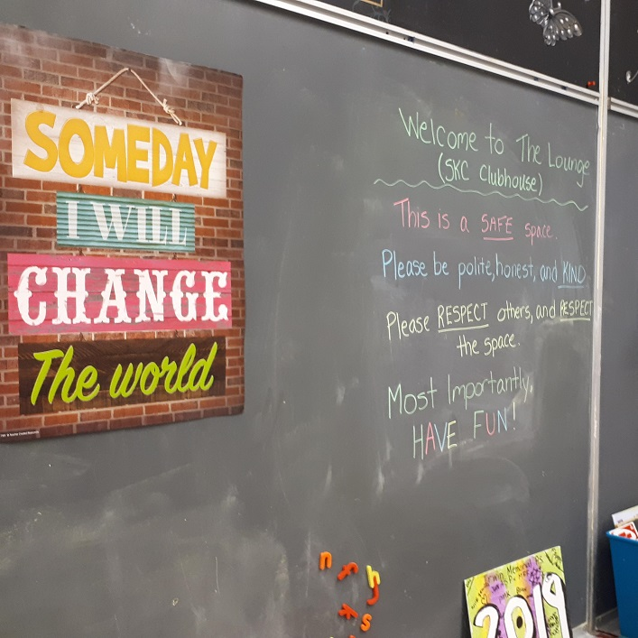 The Shania Kids Can clubhouse at Irwin Memorial PS is filled with positive messages (Kate Quinlan)