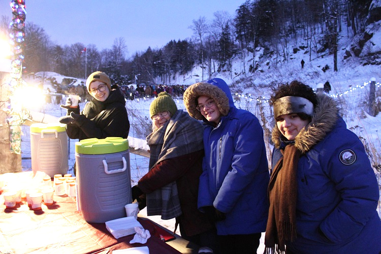 Volunteers served up hot chocolate and cookies to attendees,