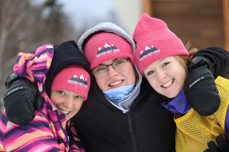 HHS Winter Fest co-chair Maddie Buck (centre) with Lauren Hooey (left) and Sara Russell (Graeme MacDougall)