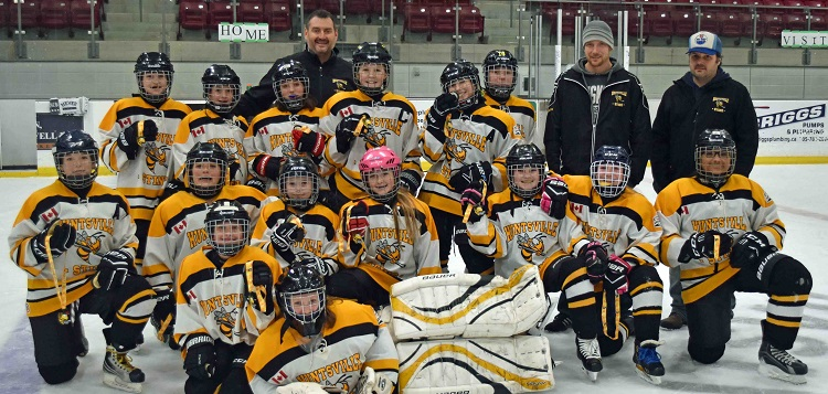 Peewee Sting White with their gold medals at the 2020 HGHA home tournament (Cheyenne Wood)