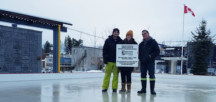 (From left) Ryan Atwood, Morgan Richter and Ken Atwood at the River Mill Park skating rink