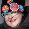 Susan Hoenhous and other teachers of the Elementary Teachers' Federation of Ontario participate in a full withdrawal of services strike in Toronto on Jan. 20, 2020 (Nathan Denette / The Canadian Press)