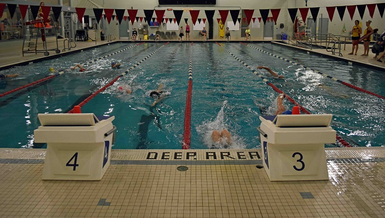 Participants had 15 minutes to complete as many lengths of the Centennial Pool as they could (Cheyenne Wood)