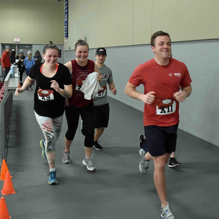 Runners circled the Canada Summit Centre track, completing as many laps as they could in 15 minutes (Cheyenne Wood)