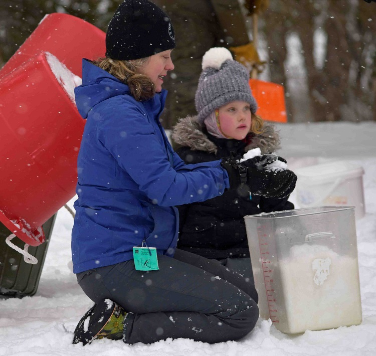 Building snow sculptures at the Jo-Athlon (Cheyenne Wood)
