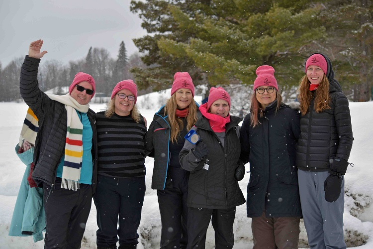 (From left) David McLean, Joanne's husband and Enliven board member, Carrie Campbell, Enliven board member, Linda Wilson, Joan Kennedy, Sybille Pieper, and Lindsay Rothwell, Enliven board member (Cheyenne Wood)
