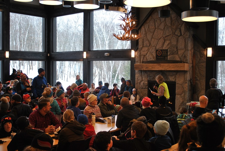Skiers gathered in the Arrowhead Visitor Centre after the races for awards (Peter Welland)
