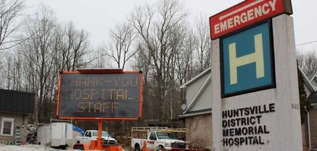 This digital sign was placed near Huntsville Hospital overnight on March 27, 2020 (Dawn Huddlestone)