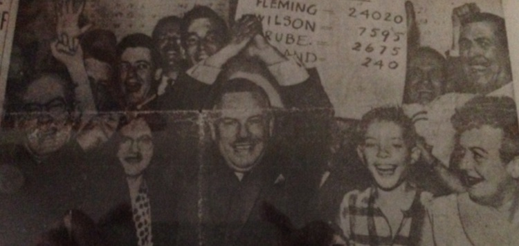 A young Hugh Mackenzie (front, second from right) on the front page of the Toronto Star in 1957
