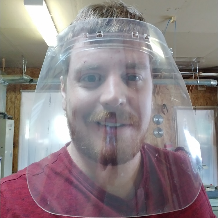 Thomas Morton takes a face shield selfie. (supplied)