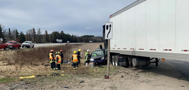 This collision at Hwy 11 southbound and Lindgren Road occurred the morning of May 7, 2020 (Photo courtesy of Huntsville OPP)