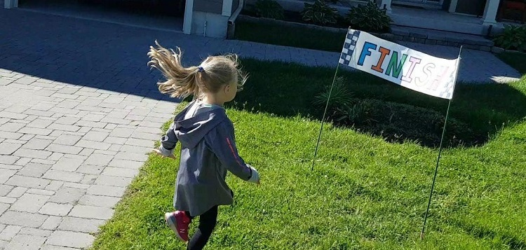 Peyton Bosworth, 4, placed third in the virtual kids race with a time of 9:32 (supplied)