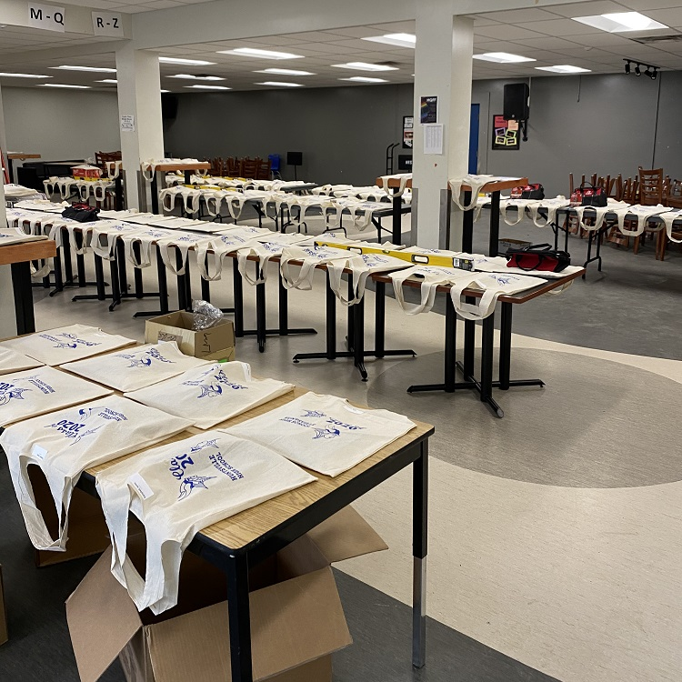 HHS staff prepped bags containing each student's awards, a gift and a graduation cap. (supplied)